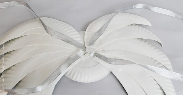These lovely DIY angel wings are large enough for adults to wear and all you need are some paper plates and ribbon with a little glitter for extra magic.