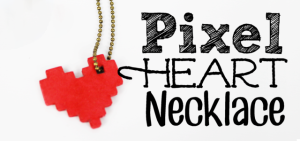 This pixel heart necklace is incredibly easy to make. All you need is some cardstock, glue and our free pattern. You'll be wearing retro jewelry in no time!
