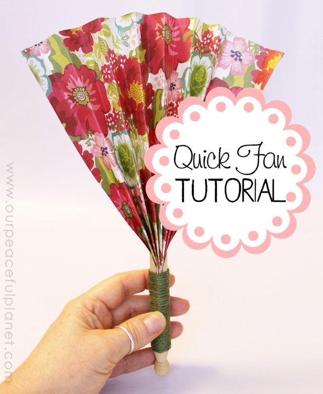 Make these quick hand fans in minutes using a regular wood clothespin and some heavy scrapbook paper. Wrap a little ribbon or twine around them and you have a beautiful way to cool off!