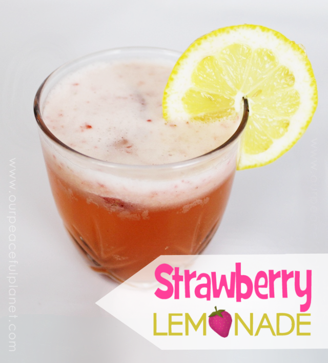 Here's a quick light and healthy strawberry lemonade recipe.  All it takes is water, lemons a few strawberries and some agave nectar or any other healthy sweeter you like.   Great on a hot day… or any day for that matter!