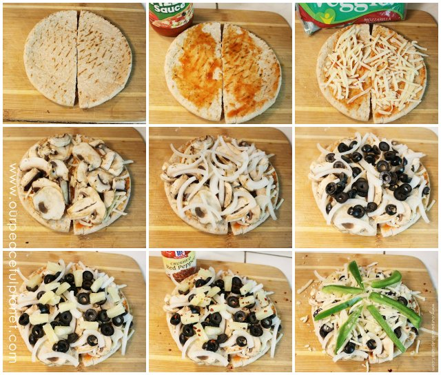 These mini pita pizza is quick to make, delicious and good for you! We also show you how to create kit full of simple ingredients to keep in your fridge. Then you can whip them up quick and bake or if desired you can freeze them for popping into the oven later.
