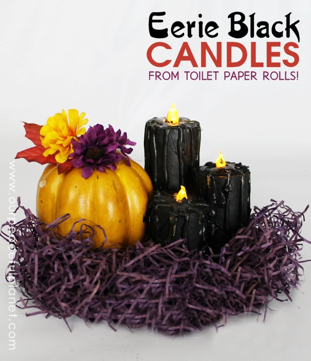 Make these eerie black Halloween decor candles made from toilet paper rolls, battery operated LED tea lights, some paint and a few extra goodies. Awesome!