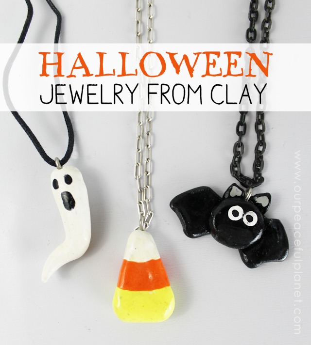 Make these simple Halloween jewelry pieces from polymer clay! So easy anyone can do it! They can be used for necklaces, earrings, key chains pins and more!