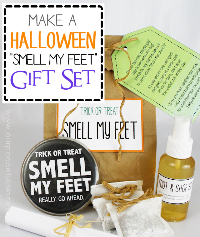 Make a unique Halloween gift set for adults. It's an all-natural foot spray and shoe freshener kit. Instructions plus free printables which includes a hilarious poem!