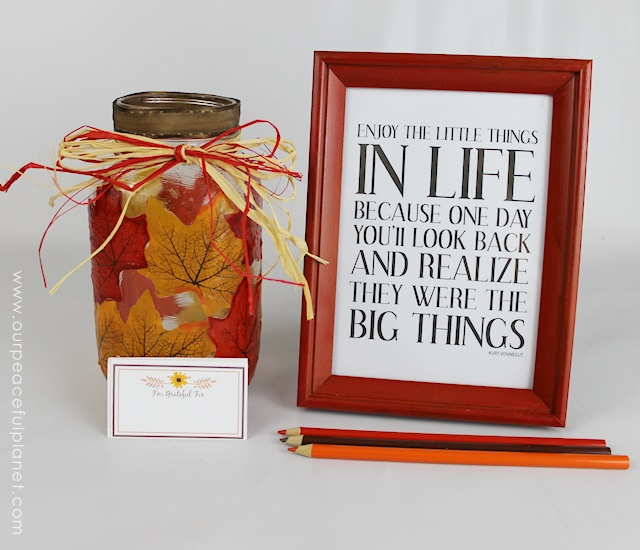 Everyone can use reminders now and then to be a little more grateful. This pretty jar and activity helps do that. It's a wonderful Thanksgiving Day activity but is also one that can be done any day of the year. You can decorate your jar however you want! We've got FREE PRINTABLE cards too!