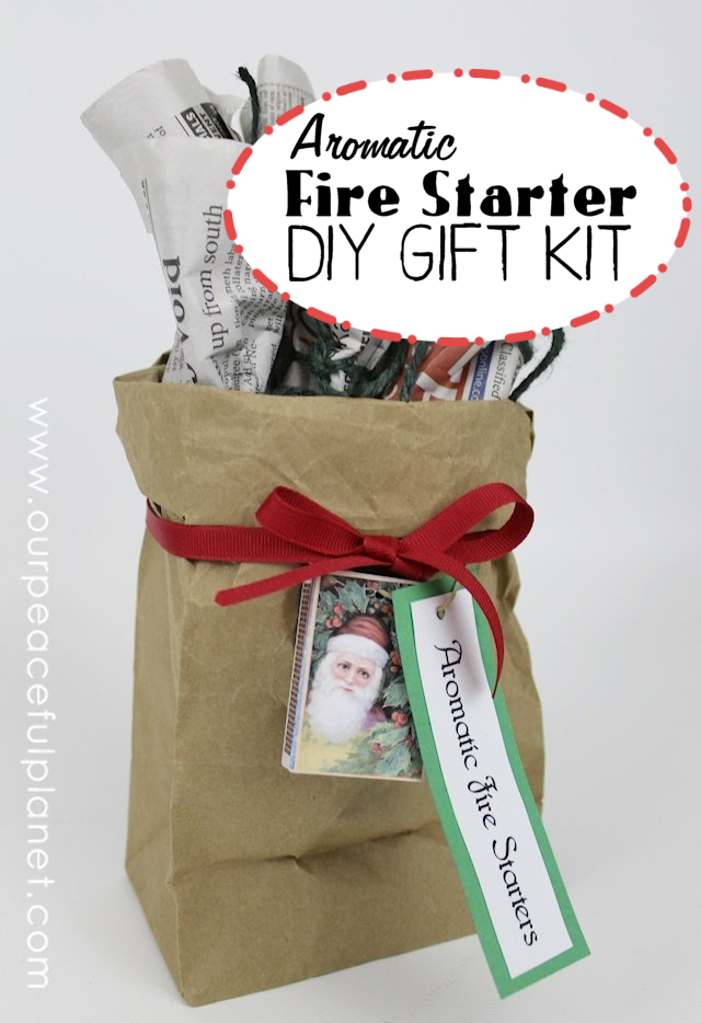 Here's a unique yet inexpensive gift set you can give to your friends and neighbors during the holiday season. Well, the ones with fireplaces anyway. It's an aromatic fire starter kit. We supply the FREE PRINTABLE TAGS & LABLES and you supply the newspaper, ribbon, paper bag and matches. Add essential oil if you want them to be aromatic! You'll have a few cents tied up in each one.  Ü