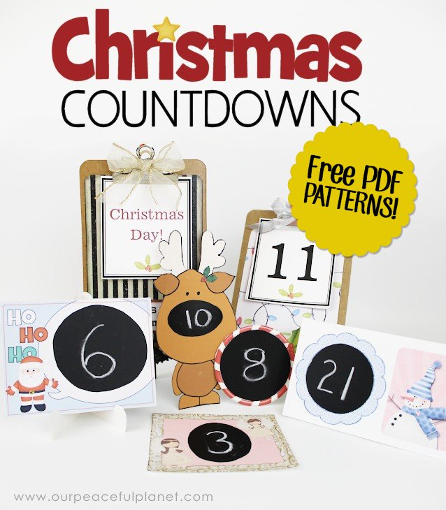 Here's FIVE FREE PRINTABLE Christmas Countdowns! Plus one made from a small clip board. Just download our packet and print the ones you want. There's even a pattern for a paper easel! What a fun easy way to keep track of the day's until this most favorite of holidays!