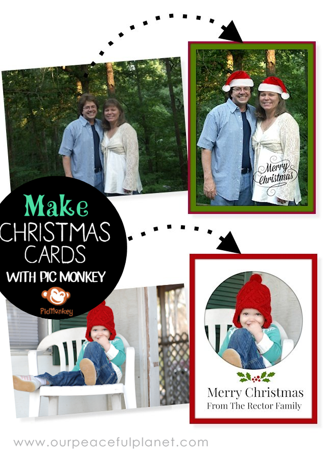If you think you're not creative enough to design your own Christmas cards well Pic Monkey might change your mind! They make it SUPER easy to do whether you want to use your own photo or design one from scratch.