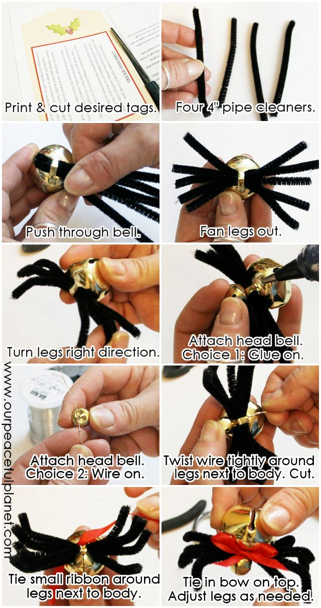 You can make these elegant and simple Christmas Spiders from bells and pipe cleaners. Download the printable story poem tags and give as gifts or ornaments.