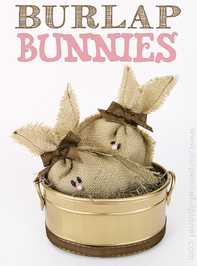 These darling burlap bunnies are not just for Easter! They would make a wonderful addition to any floral arrangement or centerpiece or with a few drops of essential oil added to the stuffing they would also make great air or drawer fresheners! They're SO easy and inexpensive to make. Plus they would be lovely gifts!