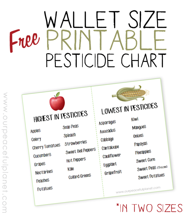 Grab our FREE PRINTABLE WALLET PESTICIDE CHART.  It comes in two sizes and is a quick reference guide when you're purchasing fresh fruit and veggies.