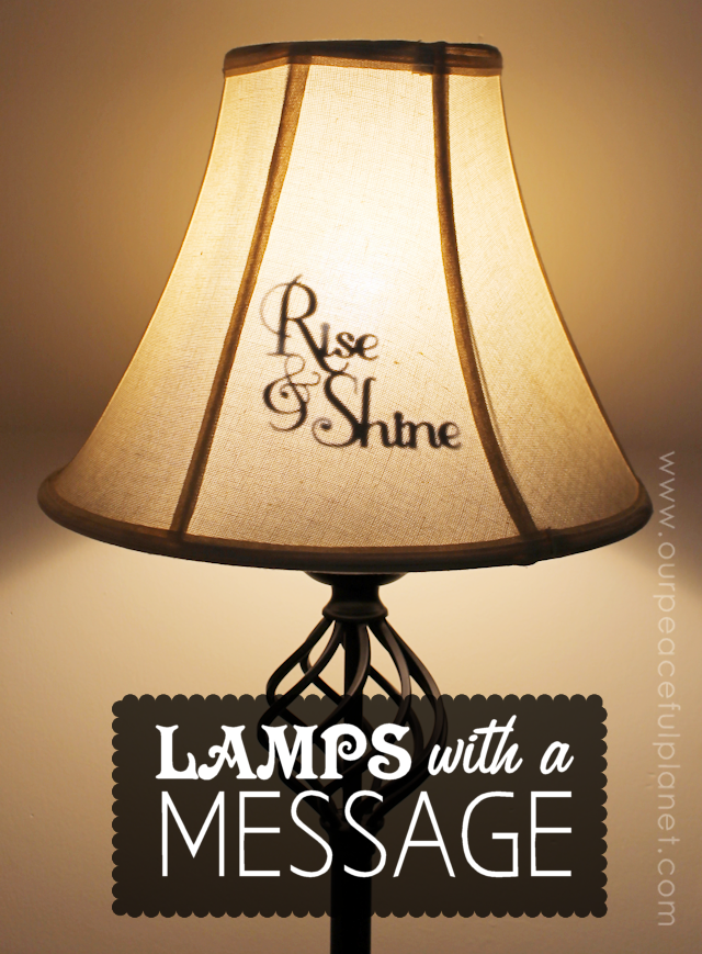 "Your lamps can hold a surprise message when turned on! All it takes is our FREE PATTERNS, some cardstock and an X-ACTO knife. (We also have a Silhouette cutter download!) We have a variety of messages all ready for you to print and cut out. What a unique way to ""brighten"" your home!"