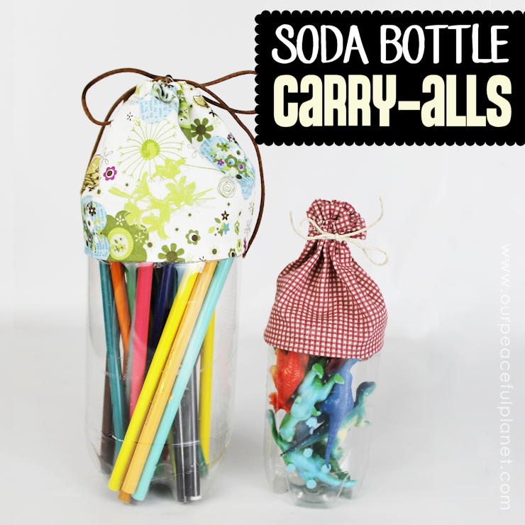 Here's an upcycle that also helps you get more organized! Turn plastic soda bottles into carry all's for storing all kinds of things! The scrap fabric is glued onto the bottle, though some minor sewing is done for the part the tie goes into. Ü