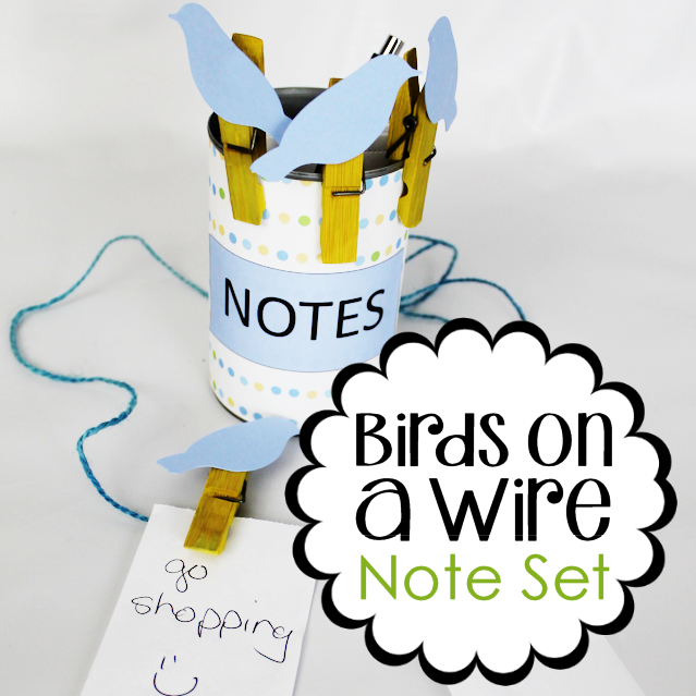 This upcycle project would make a great useful gift! Its a little birds on a wire note holder set made from clothespins and a can. Add in some string and paper and they can make a hanging note center! Comes with FREE PRINTABLES!