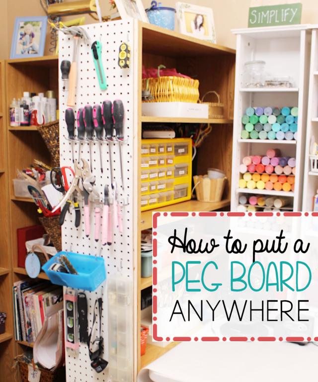Pegboards are great for organizing and very inexpensive!   Look at the unique place we hung ours and learn how to hang pegboard anywhere!