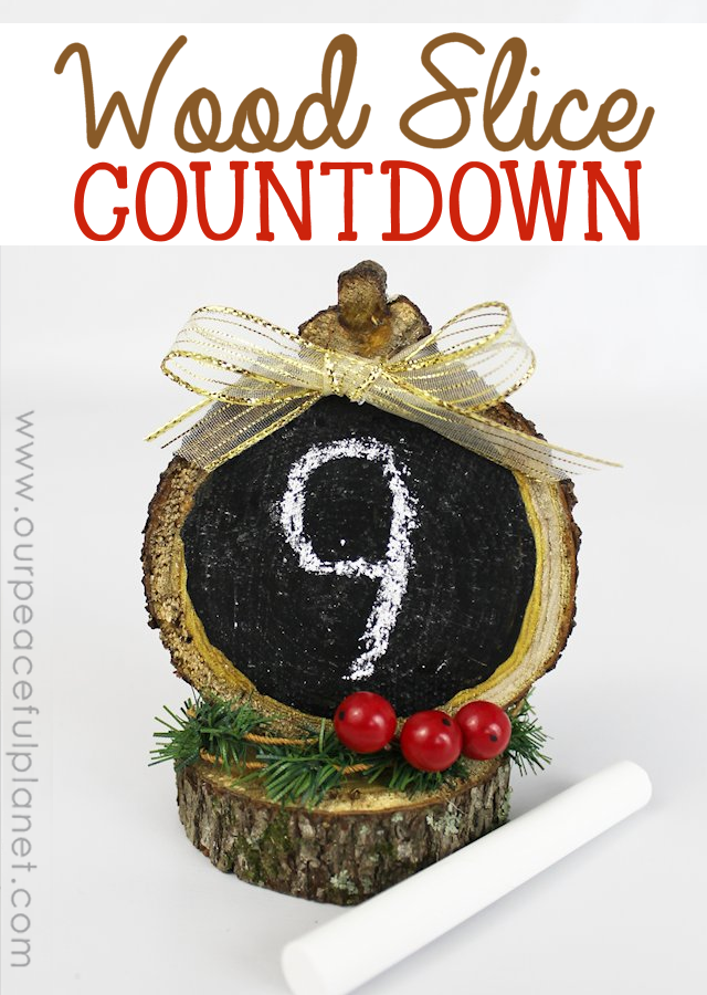 Make a fun countdown to Christmas, a vacation, a birthday, another holiday or any upcoming event using wood slices, some chalkboard paint and a few extras.