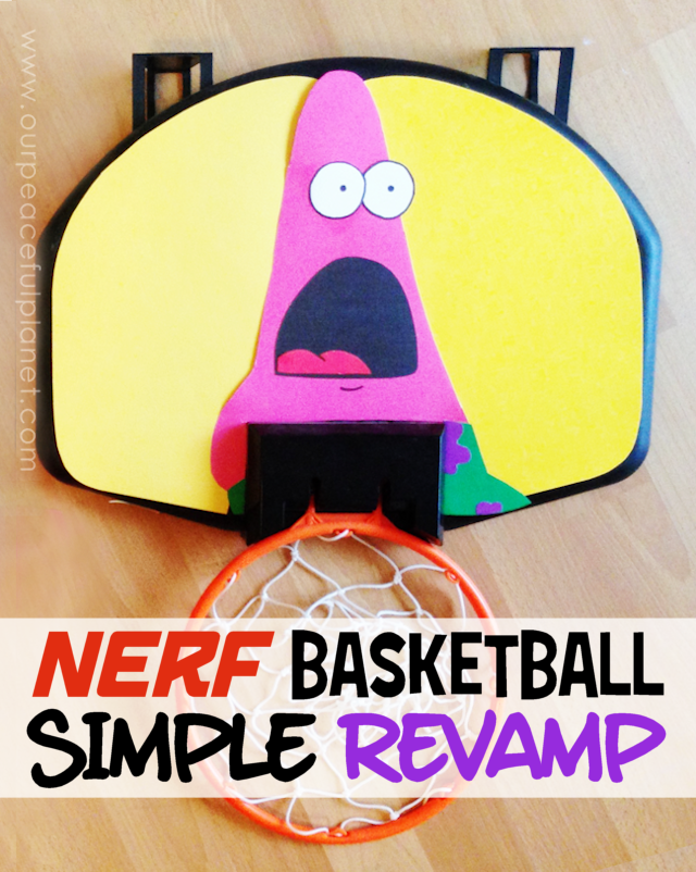 Here's how to do a quick Nerf Basketball Makeover with a little constructions paper and some scissors and glue! You can put whatever design you want on the back!