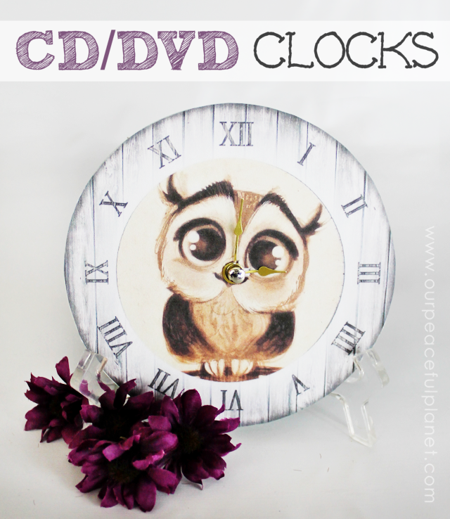 Who doesn't have old DVDs lying around? Well here's is a spectacular upcycle use for them! Ends up they are perfect for turning into mini clocks. Just grab an inexpensive clock mechanism and DOWNLOAD OUR 12 FREE CLOCK FACE PATTERNS provided.