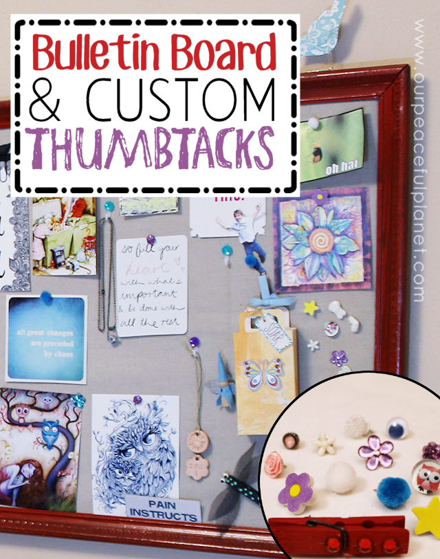 Do you have an old large frame hanging around? Well you have the makings of a spectacular bulletin board or inspiration / vision board!  It's very simple to put together and what makes it even more nifty is the custom thumbtacks we show you how to make. Use it for a family center, notice board or an idea board where you place things that inspire you!