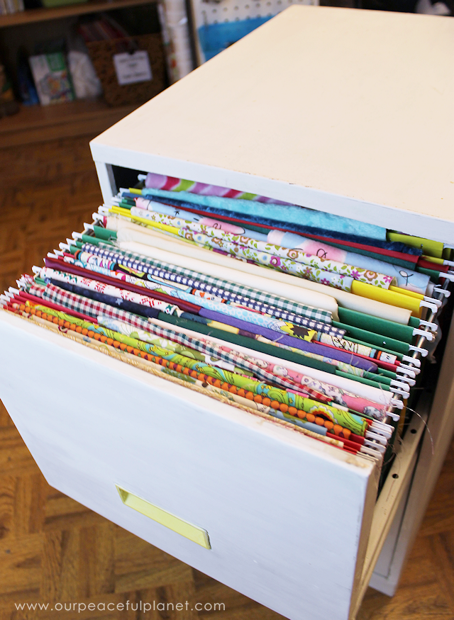 Organize Fabric With A File Cabinet