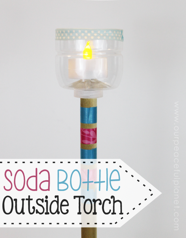 Here's a great DIY Outdoor Lighting idea! All you need is a soda bottle, a dowel and some small battery operated LED lights that you can pick up at any Dollar Store. Not only will it brighten up your yard but it's a wonderful Upcycle too!