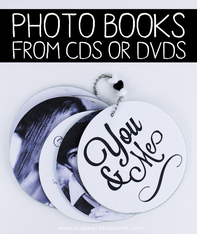 Make these awesome custom photo books from old CDs or DVDs using photos and scrapbook paper! Drill a hole and attach a chain for a wonderful gift.
