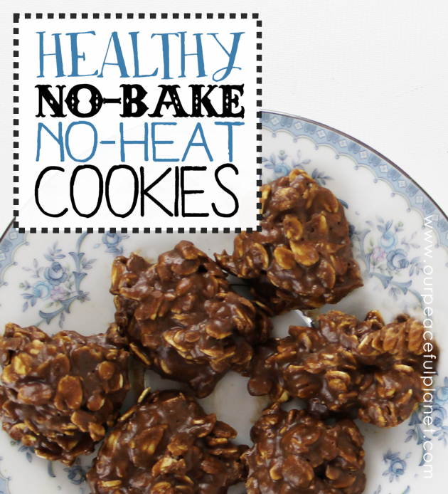 Make delicious, gooey healthy no-bake, no-heat cookies in 5 minutes! You can eat them as is or drop them onto foil and pop them into the fridge for an hour.