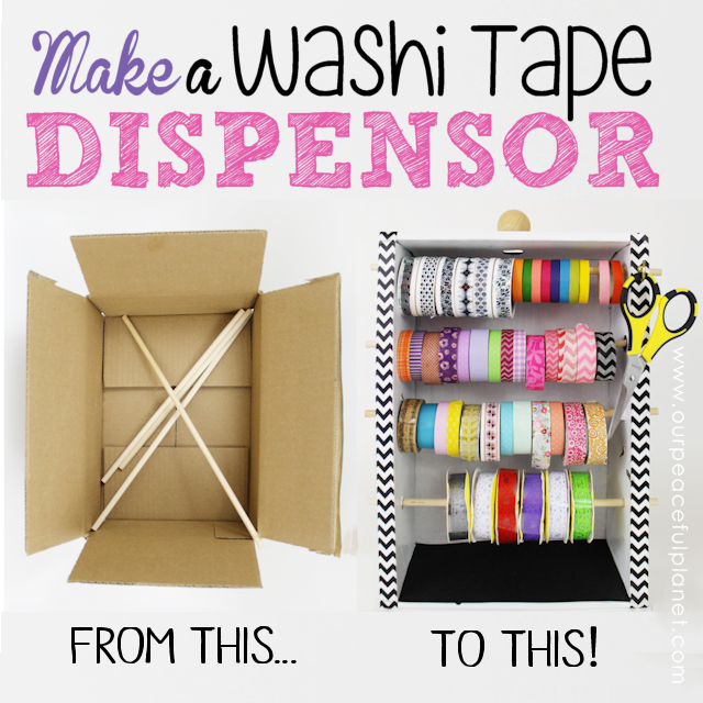 Organize your Washi Tapes with this lovely Washi Tapes Dispenser made from a box! The cost? $0.00!