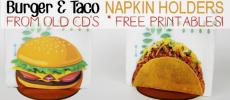 Taco & Burger Napkin Holder From CD/DVDs