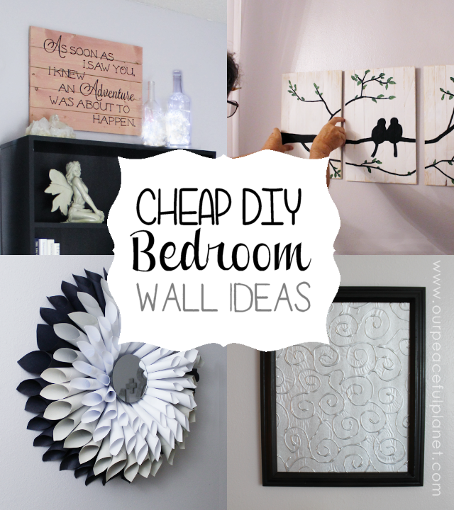 Cheap classy diy bedroom wall ideas for Cheap artwork ideas