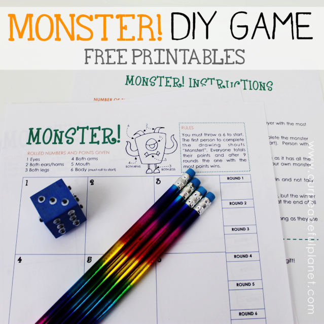 Monster! is a fun Halloween game you can quickly make using our free printables, a wood block and some wiggle eyes. Entertaining for adults and children!