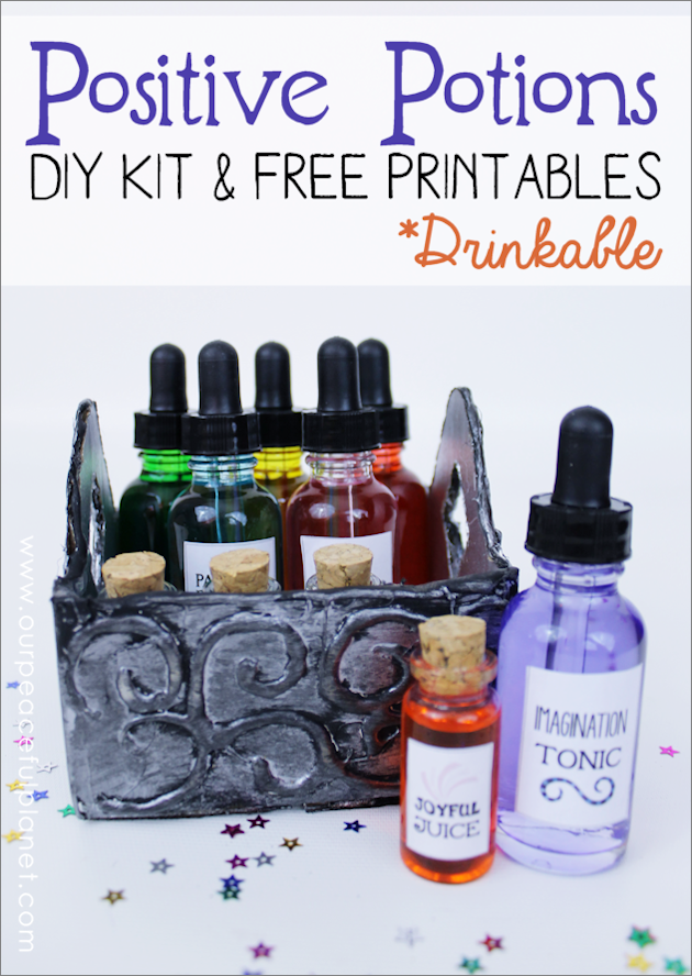 The power of imagination is undeniable. Make a Positive Potions Kit to inspire your kids. 25 free printable labels and instructions. (Fun for adults too!)