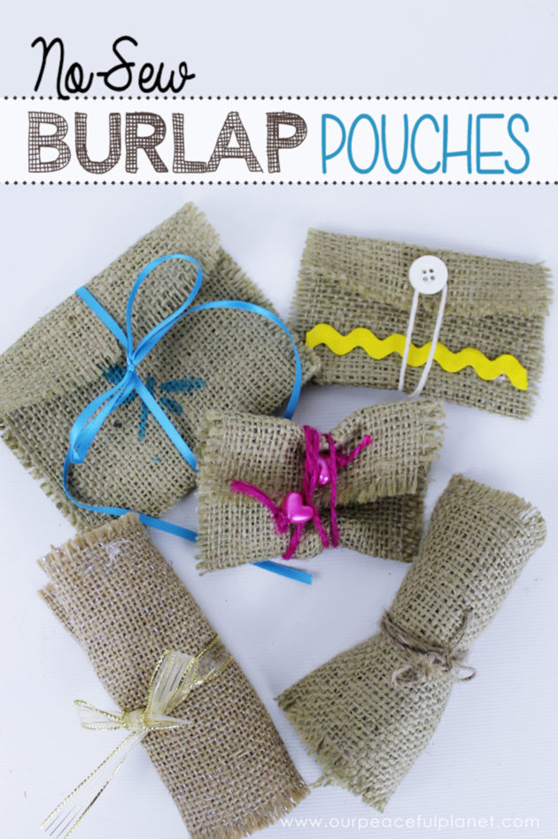 Burlap crafts no sew pouch for Crafts made with burlap
