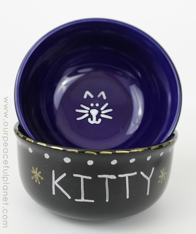 Make some quick personalized dog bowls from Dollar Store ceramic dishes! You can easily label them or paint them with your dog or cats name. Very classy!