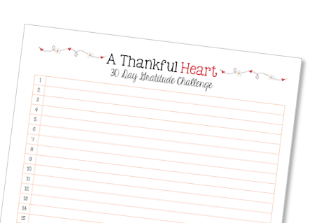 Thankful Heart 30 Day Gratitude Challenge
