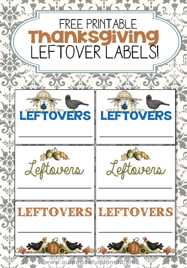 Download our free Thanksgiving leftovers labels for a quick way to tell what goes to who, and what food is in what container. Print and cut!