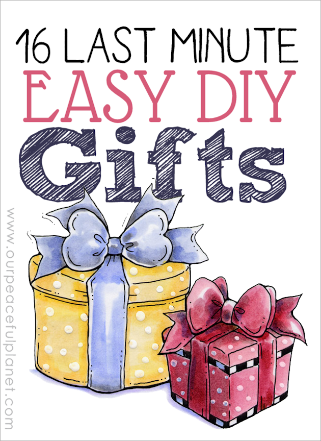 Here are 14 last minute easy DIY gifts that are sure to please. They are classy, useful and can be made from things you probably have around the house!