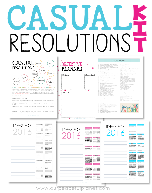 "Your New Year's Resolutions should not be a guilt list. Download our free ""Casual Resolutions Kit"" printables to keep your goals fun and stress free!"