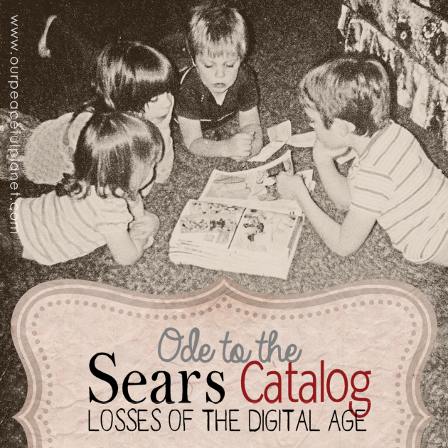 Despite my love for the digital age there are occasions when I realize some things have been lost. One of those is the Sears Catalog at Christmas time.