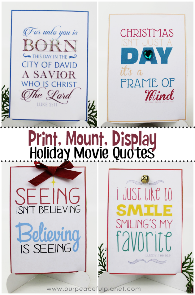 Make a Holiday Christmas Quotation gift or handout using our 12 free printable quotes and easel template. Give singular or as a set!