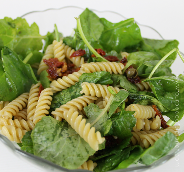 Even if your not a salad eater you will like this arugula, spinach, sun dried tomatoes and capers healthy pasta salad. It's quick to make a very filling!