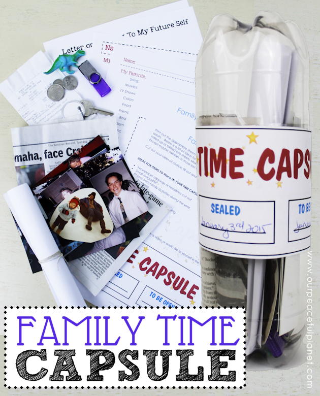 Make a fun family time capsule using plastic soda bottles and our free printables! We'll give you labels and ideas for other items to add into your capsule.