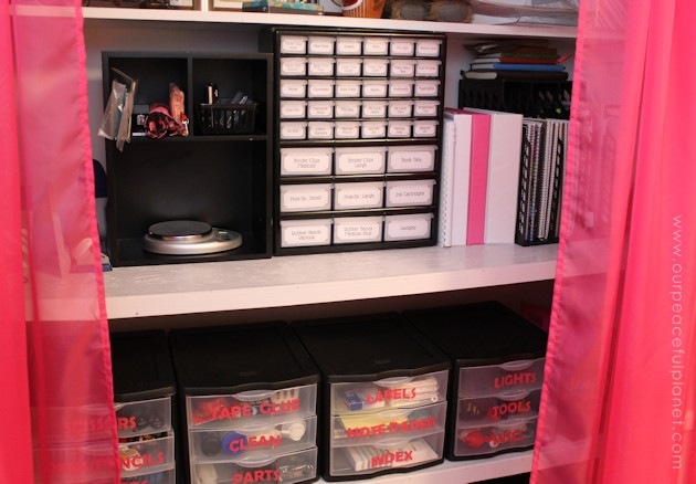 Organize office supplies in style with a plastic parts chest. With a little paint, some nice labels and a few rhinestones you a beautiful addition to your home office!