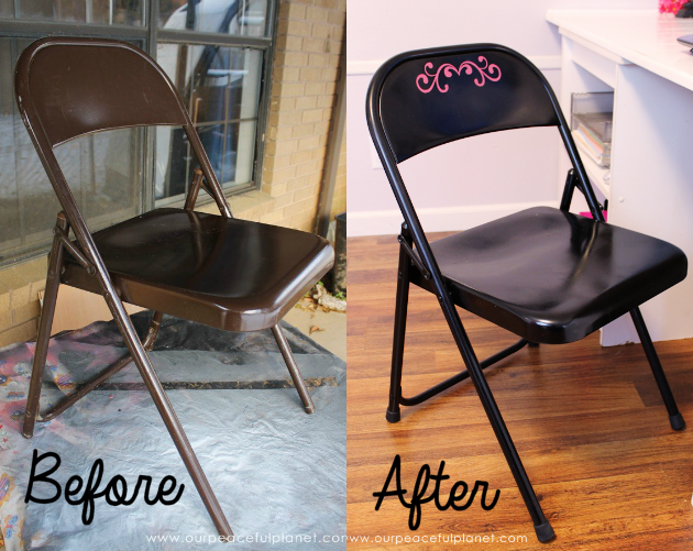 We'll show you how to easily do a folding chair makeover with some spray paint and vinyl labels for a classy, quick and inexpensive addition to any room!