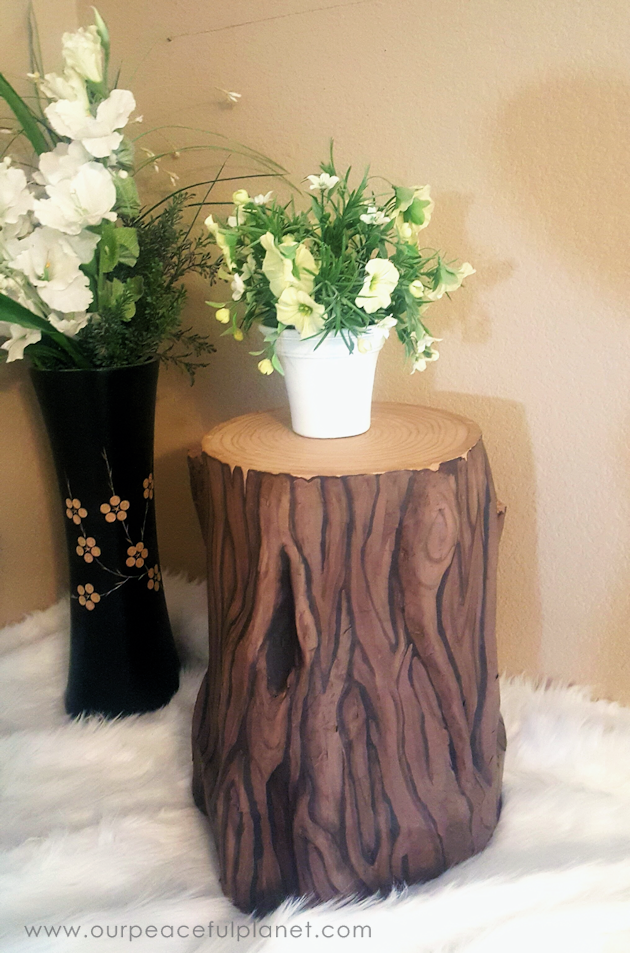 Paper Mache Tree Stump Stool