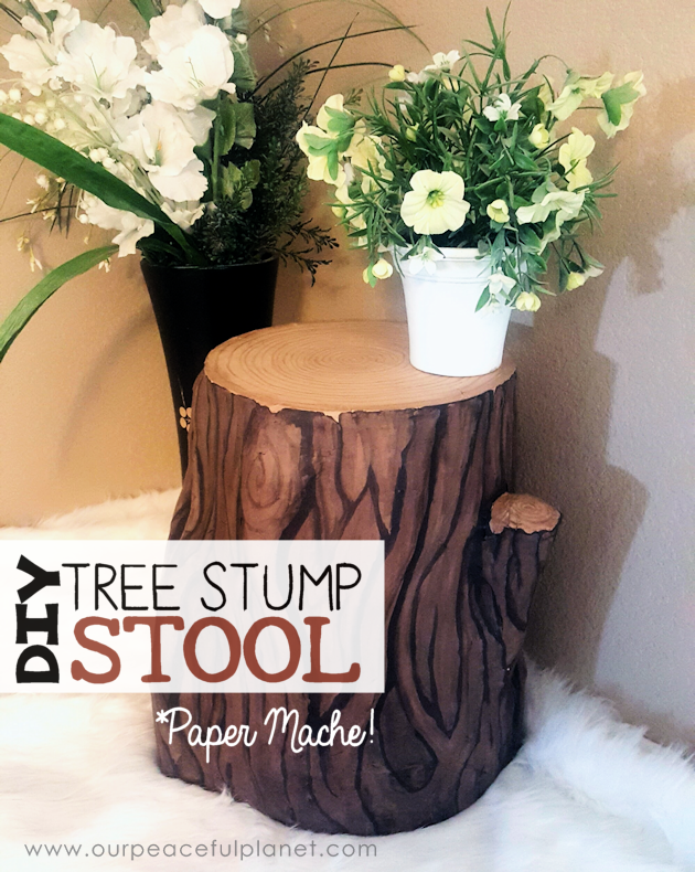 Add some whimsy to your home with this DIY tree stump stool. All you need is a 5 gallon bucket, wood circle, TP tubes, paper mache, foil and paint!