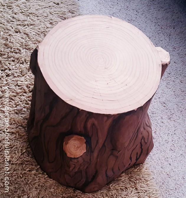 Paper Mache Tree Stump Stool