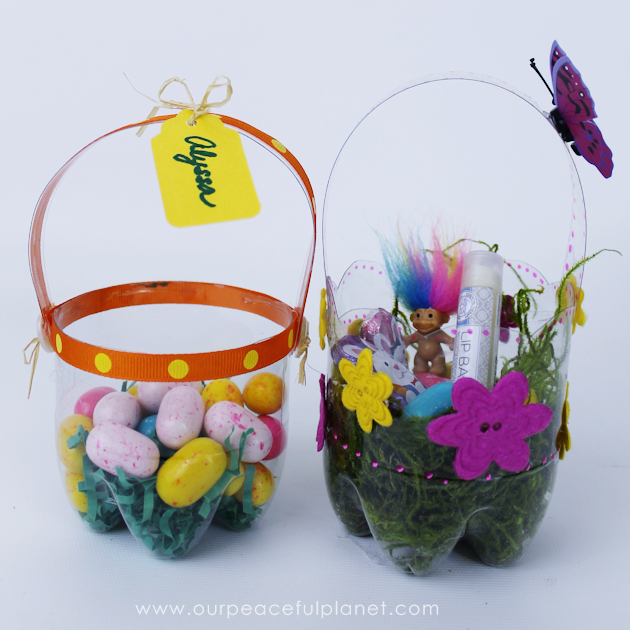 How To Make Flower Basket With Plastic Bottle : Plastic bottle diy easter baskets