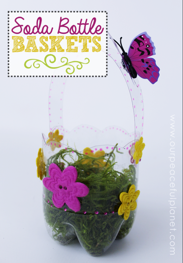 Pretty little custom DIY Easter baskets you can make in minutes using a plastic soda bottle of any size! Use for Easter or as a gift basket for any time!