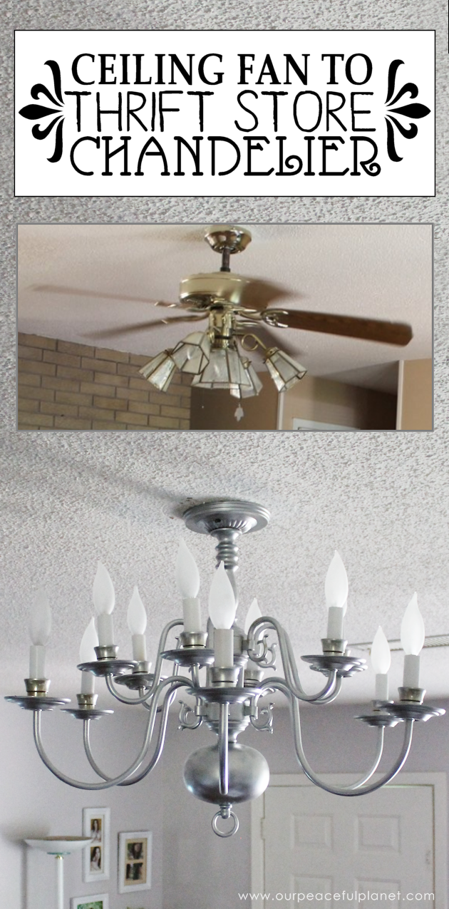 A simple chandelier makeover using a chandelier found at a thrift store. It replaced a ceiling fan in and was flush mounted. The effect was stunning!
